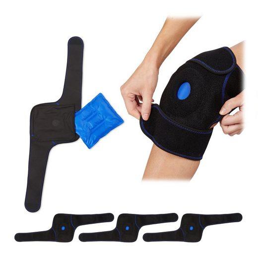 relaxdays Gelkissen »4 x Kühlkissen Knie mit Klettverschluss«