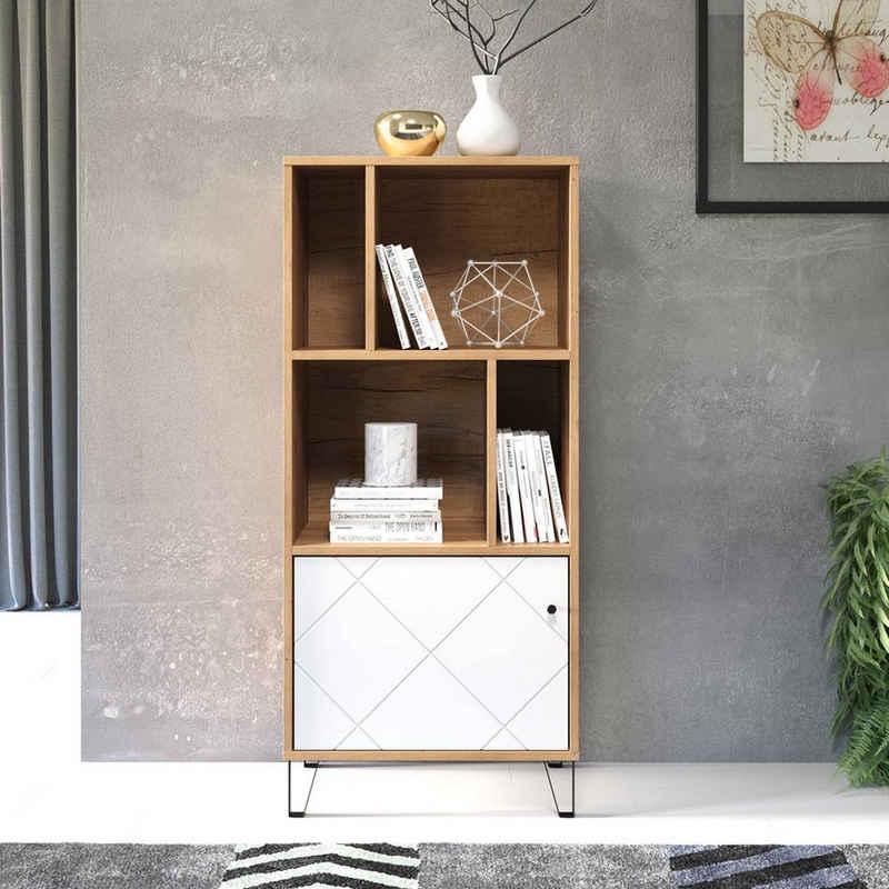 Lomadox Bücherregal »TORINO-19«, Highboard Wohnzimmer in Artisan Eiche Nb. mit weiß matt, B/H/T: ca. 63/136/40 cm
