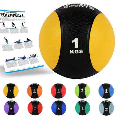 MSports® Medizinball »Medizinball 1 – 10 kg – Professionelle Studio-Qualität inkl. Übungsposter«