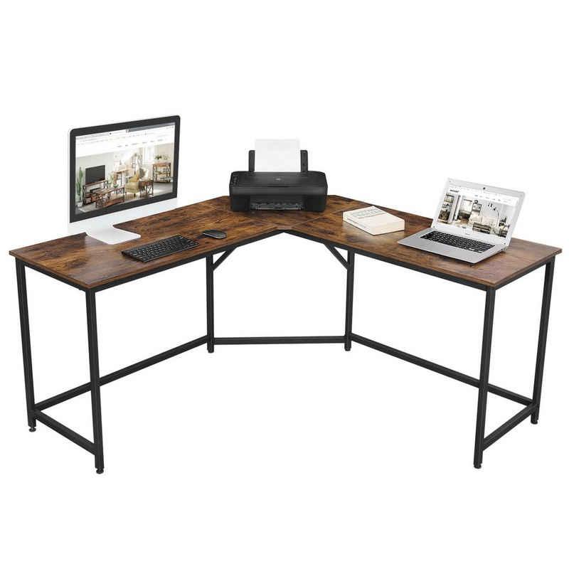 VASAGLE Eckschreibtisch »LWD73X LWD073B02«, L-förmiger Computertisch, Bürotisch, vintage