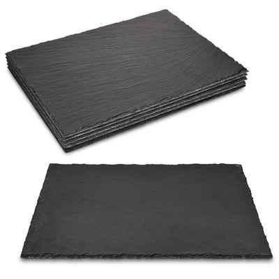 Platzset, Navaris, Schiefer Teller 6-teilig - 38x28cm Schieferplatten 6x Servierplatte für Sushi Käse - Schieferplatte eckig groß