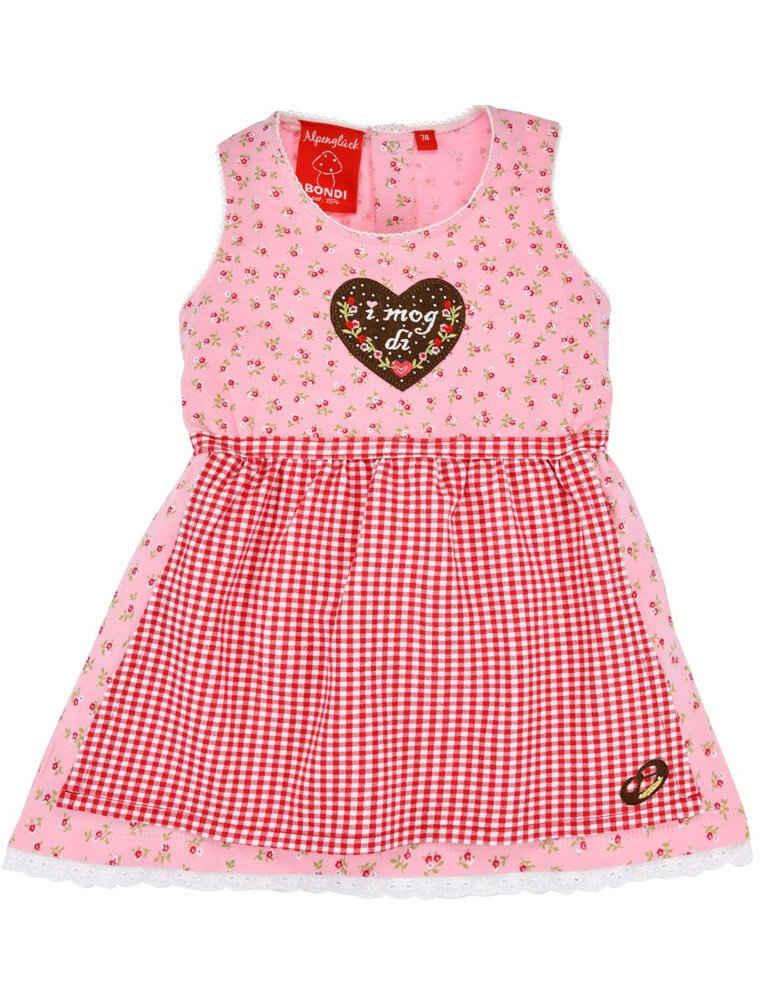 """BONDI Dirndl »Baby Kleid """"I mog di"""" mit Streublümchen und Herz 86556, Rosa Trachtenkleid für Mädchen«"""