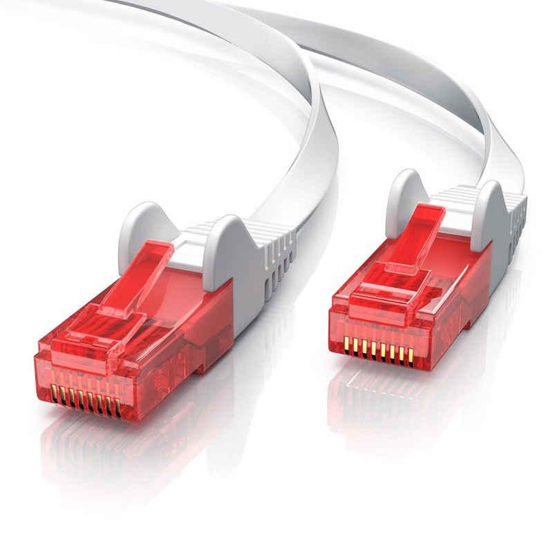 CSL Netzwerkkabel, RJ-45 Stecker; RJ-45 Stecker (25 cm), Cat 6 Flachband LAN Kabel - mehrfach geschirmt - UTP Gigabit - 1000 Mbit/s - Patchkabel Flachkabel