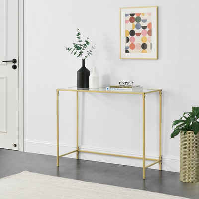 en.casa Konsolentisch, »Alajärvi« Flurtisch Beistelltisch Wandtisch 100x35x80cm Gold
