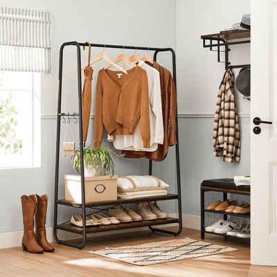 VASAGLE Kleiderständer »RGR112B01«, Garderobenständer, 2 Ablagen, 6 Haken in S-Form, für Schlafzimmer, Flur, Eingangsbereich