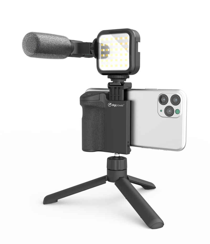 """DigiPower »Vlogging Set """"Follow me"""" mit LED-Videoleuchte + Mikrofon + Kameragriff mit Handy Halterung + Mini-Stativ, kompatibel mit Smartphones, für TikTok, Youtube, Live-Streaming und Meetings« Smartphone-Halterung, (4-tlg)"""