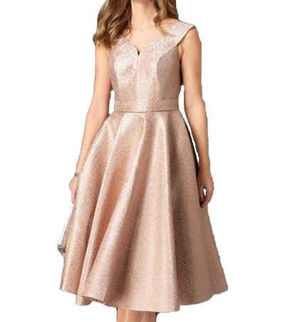 GUIDO MARIA KRETSCHMER Midikleid »GUIDO MARIA KRETSCHMER Midi-Kleid schimmerndes Damen Abend-Kleid mit Wiener Nähten Party-Kleid Rosé Gold«