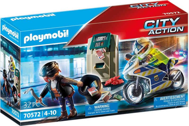 Playmobil® Konstruktions-Spielset »Polizei-Motorrad: Verfolgung des Geldräubers (70572), City Action«, (32 St), Made in Europe