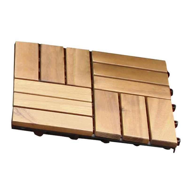 Gartenfreude Einlegeboden »10er-Set Holzfliesen Klicksystem«