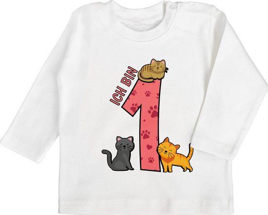 Shirtracer T-Shirt »1. Geburtstag Katzen - Baby Geburtstag Geschenk - Baby T-Shirt langarm« Geburtstagsgeschenk Ideen Kleidung Strampler Babykleidung