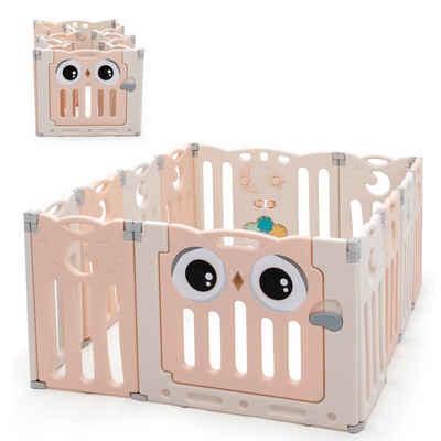 COSTWAY Laufgitter »Baby Laufstall, Absperrgitter, Krabbelgitter, Spielzaun, Schutzgitter«, mit Tür und Spielzeugboard, für Säuglinge und Kleinkinder