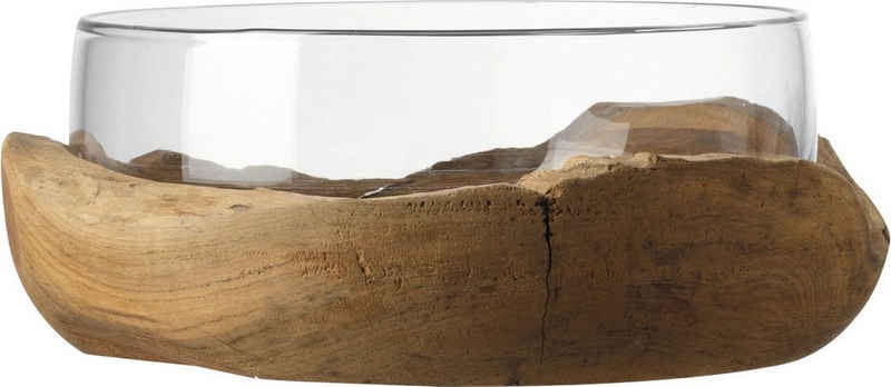 LEONARDO Obstschale »Terra«, Glas, Ø 28 cm, mit Teaksockel