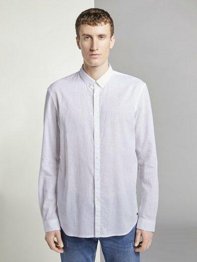 TOM TAILOR Denim Langarmhemd »Strukturiertes Hemd aus Leinengemisch«