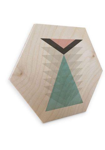 Wall-Art Holzbild »Geometrische Deko pink Dreie...