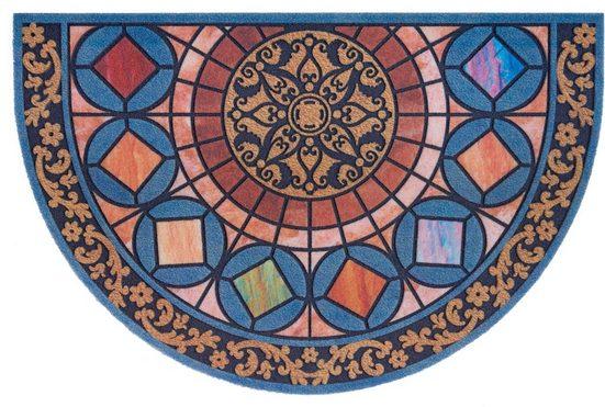 Fußmatte »Mandala halbrund«, DELAVITA, halbrund, Höhe 6 mm, Schmutzmatte, In- und Outdoor geeignet