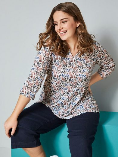 Janet & Joyce by Happy Size Shirt mit floralem Druck