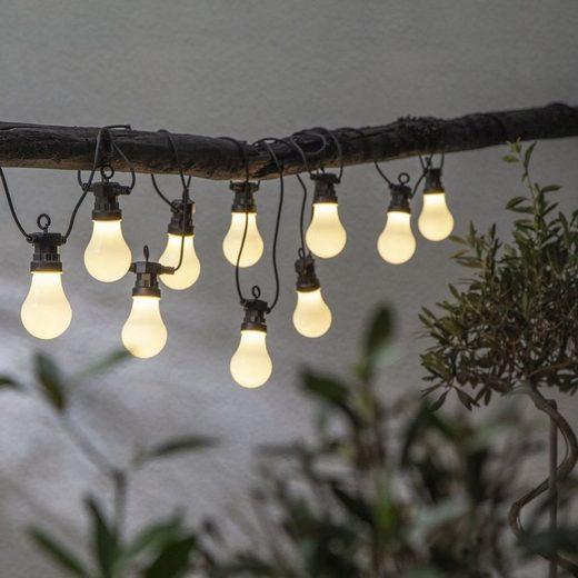 STAR TRADING LED-Lichterkette »LED Lichterkette Circus 10 opal weiße Birnen warmweiß 4,05m inkl. Trafo outdoor«, 10-flammig