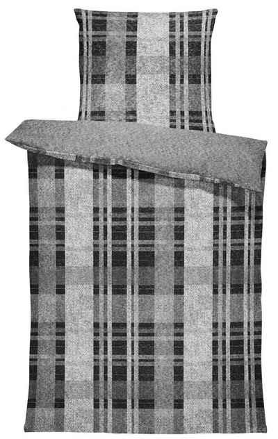 Bettwäsche »Sima«, One Home, meliert und gestreift, flauschig warmes Thermofleece 2 Teilig