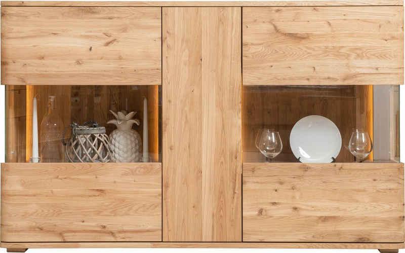 andas Kommode »Milton«, Türen und Seitenwände mit Glaseinsatz, aus massiven Eichenholz, mit einer Soft-Close- und, Push-To-Open-Funktion, Breite 150 cm
