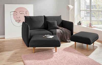 INOSIGN Polstergarnitur »Tiny Mike«, (3-tlg), Verwandlungsofa: 2 Hocker im Sofa integriert, können separat gestellt werden, mit Keder und feiner Steppung, Sitzbreite 160 cm