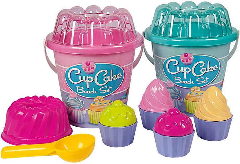 SIMBA Sandform-Set »Cupcake - Sandspielzeug - Eimergarnitur mit Eimer, Sieb, Formen & Portionierer«, (8-tlg)