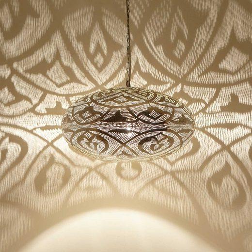 Casa Moro Hängeleuchte »Orientalische Hängeleuchte Sefrou D50 Silber aus Messing, echt versilberte Pendelleucht wie aus 1001 Nacht, EL2375«