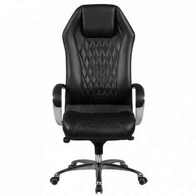 Amstyle Drehstuhl »SPM1.295«, Bürostuhl MONTEREY Echt-Leder Schwarz Schreibtischstuhl 120KG Chefsessel hohe Rückenlehne mit Kopfstütze X-XL