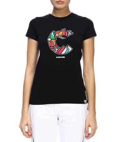 Colmar T-Shirt »COLMAR Kurzarm-Shirt cooles Damen Rundhals-T-Shirt Alltags-T-Shirt mit buntem Print Schwarz«