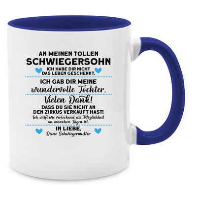 Shirtracer Tasse »An meinen tollen Schwiegersohn - Kaffeetasse mit Spruch - Tasse zweifarbig«, Keramik, Statement Teetasse