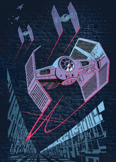 KOMAR Packung: Fototapete »Star Wars Classic Concrete TIE-Fighter«, aus Vlies