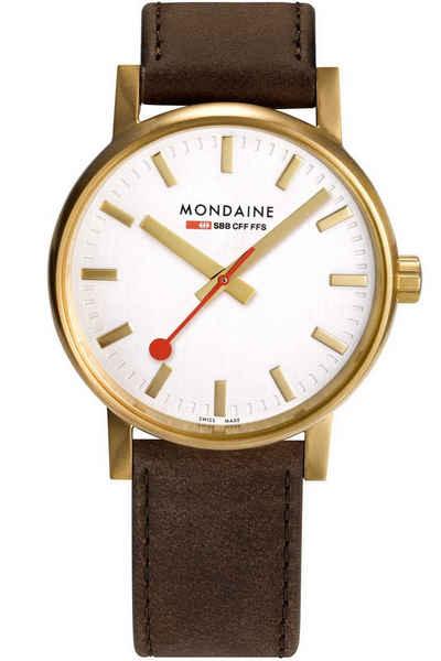 MONDAINE Quarzuhr »evo2 Braun/Goldfarben«