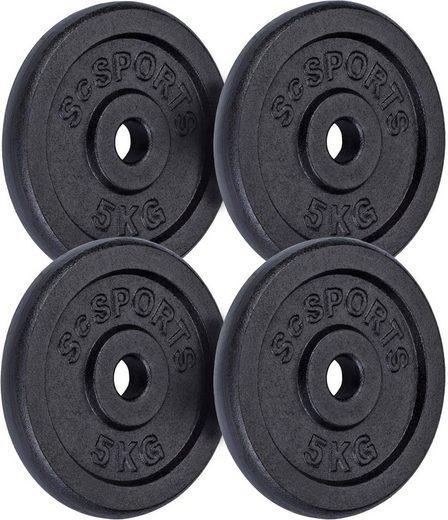 ScSPORTS® Hantelscheiben »Hantelscheibenset Gusseisen 30 mm 4x5 kg«, 20 kg, (Set, 4-tlg)