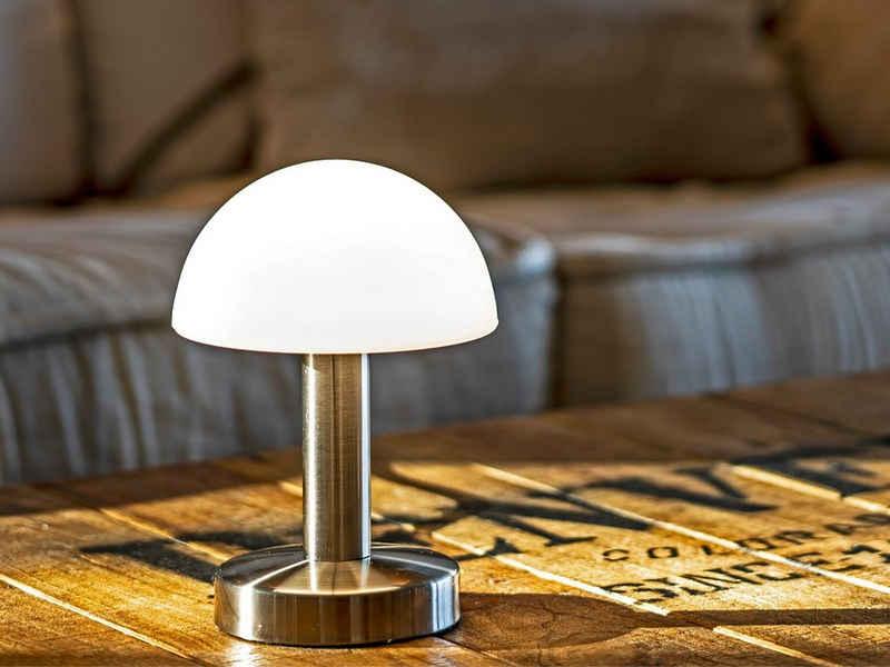 meineWunschleuchte Tischleuchte, Nachttisch-Lampe mit Glas-Lampenschirm rund und Touch dimmbar für Wohnzimmer, Fensterbank, Schlafzimmer, Jugendzimmer