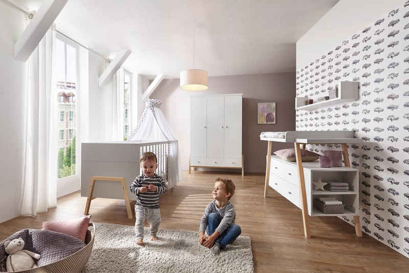Schardt Babyzimmer-Komplettset »Holly Nature«, (Set, 3-St), Made in Germany; mit Kinderbett, Schrank und Wickelkommode