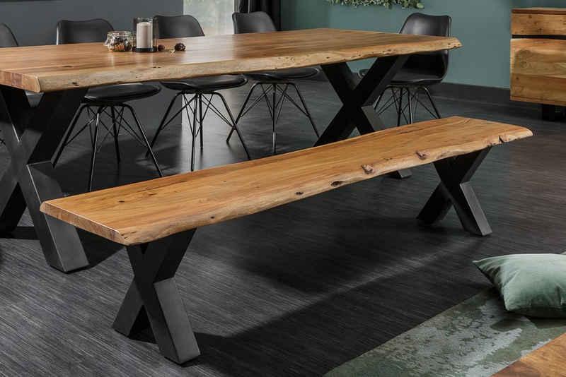 riess-ambiente Sitzbank »MAMMUT NATURE 160cm honigfarben«, mit Baumkante aus Massivholz