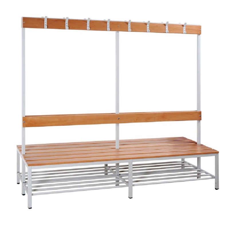 Steelboxx Sitzbank »Doppelseitige Sitzbankgarderobe mit Schuhrost,« (1-St), Langlebige, pflegeleichte, verschweißte Stahl-Konstruktion
