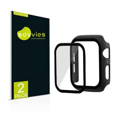 Savvies Schutzfolie »2x Savvies Hülle mit Panzerglas, Full Cover Case für Apple Watch Series 6 (44 mm) (schwarz)«, (2 Stück)