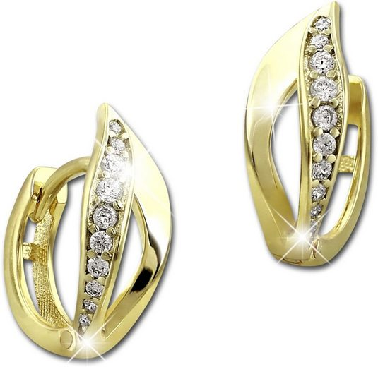 GoldDream Paar Creolen »GDO525WY GoldDream Blatt Ohrringe Zirkonia weiß« (Creolen), Damen Creolen Blatt aus 333 Gelbgold - 8 Karat, Farbe: gold, weiß
