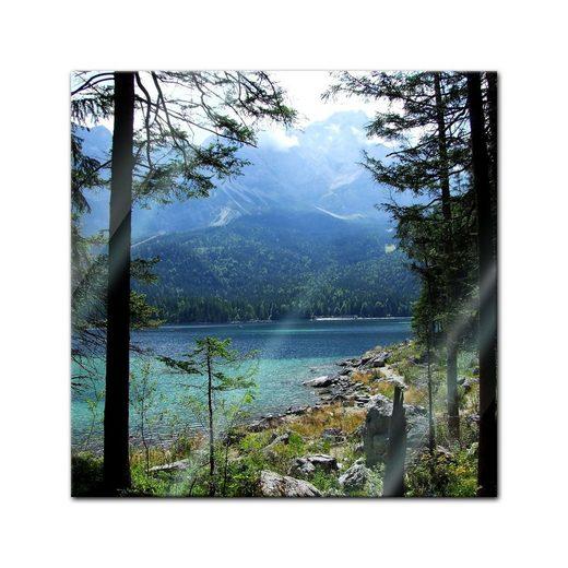 Bilderdepot24 Glasbild, Glasbild - Eibsee mit Zugspitze - Deutschland