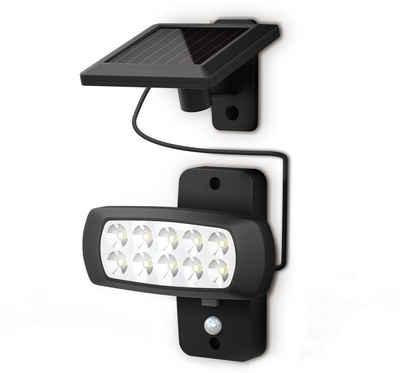 B.K.Licht LED Außen-Wandleuchte, LED Solar Außenleuchte mit PIR Bewegungssensor Wand-Lampe Außenstrahler IP44 schwarz