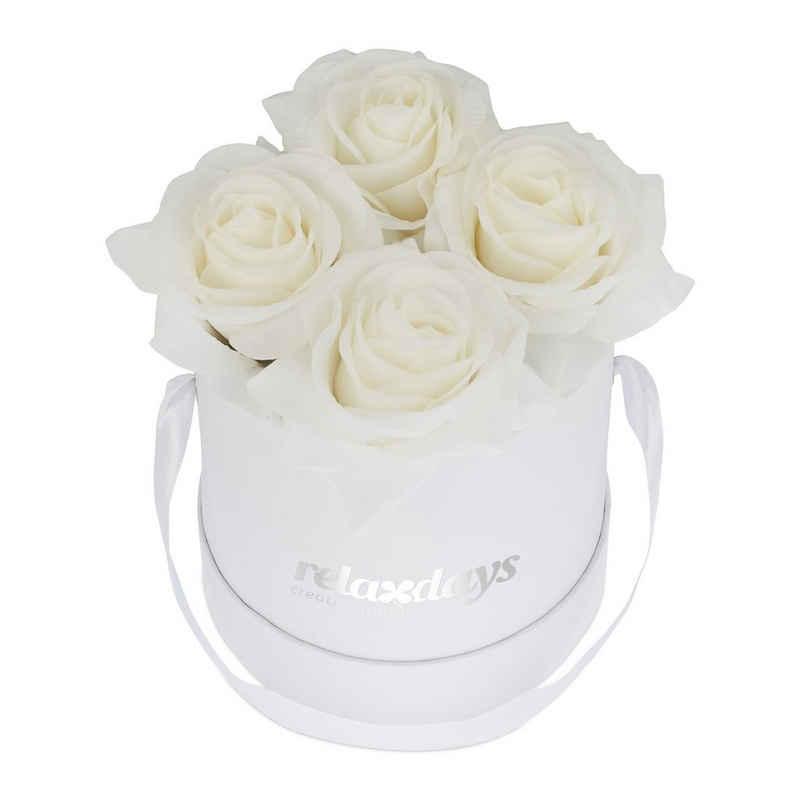 relaxdays Papierblumen »Weiße Rosenbox rund 4 Rosen«, Weiß