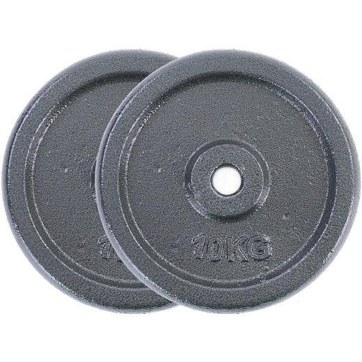 RAMROXX Hantelscheibe »20 kg Hantelscheiben Set 2x10 kg Gusseisen Hantel Gewicht versiegelt 25mm«, 20,00 kg, Material: Gusseisen