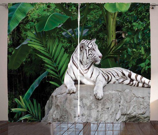 Gardine »Schlafzimmer Kräuselband Vorhang mit Schlaufen und Haken«, Abakuhaus, Safari White Tiger in Dschungel