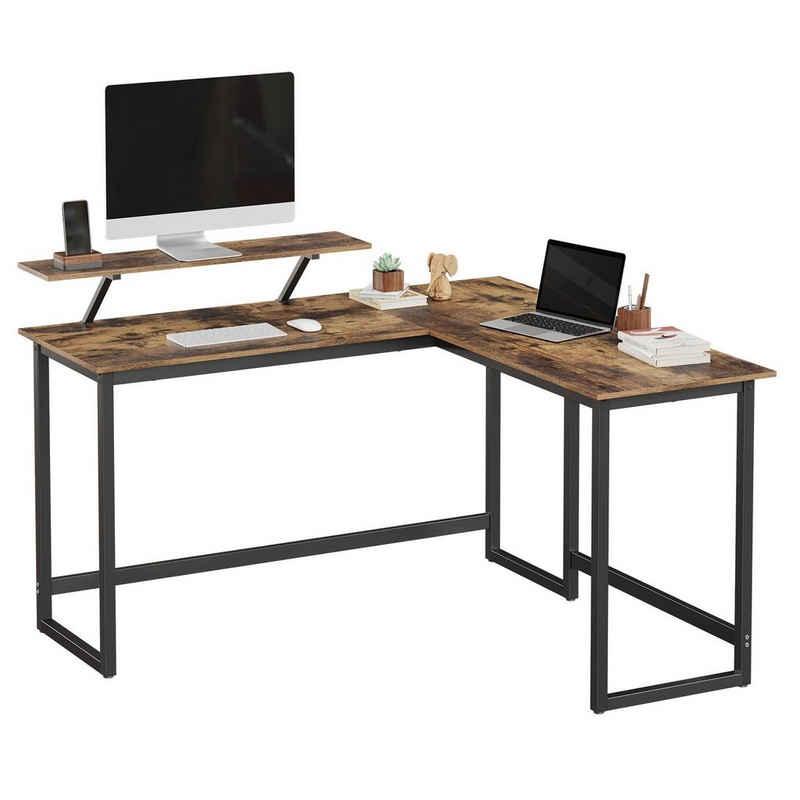 VASAGLE Eckschreibtisch »LWD56X LWD56BK«, L-förmiger Computertisch, Eckschreibtisch, vintage