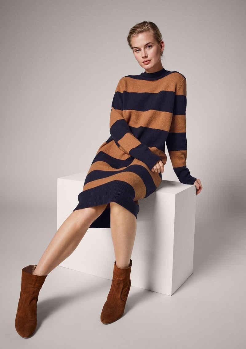 Comma Minikleid »Turtleneck-Kleid mit Blockstreifen« Rippblende