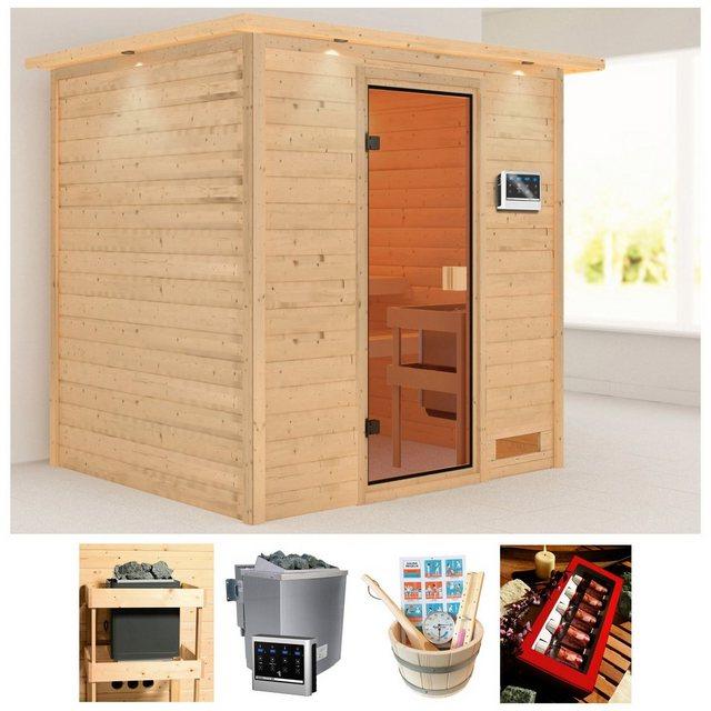 Saunen und Zubehör - KARIBU Sauna »Abby«, 223x183x191 cm, 9 kW Bio Ofen mit ext. Steuerung, Dachkranz  - Onlineshop OTTO