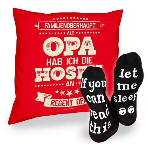 Soreso® Dekokissen »Kissen Als Opa hab ich die Hosen an & Sprüche Socken Sleep«, Geschenk Geburtstagsgeschenk