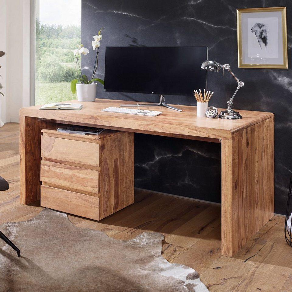 Schreibtisch Dunkelbraun Massiv 2021