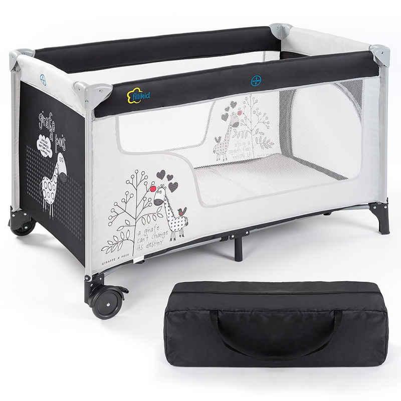 Fillikid Baby-Reisebett »Kinder-Reisebett ab der Geburt 120x60 cm - Giraffe«, 3-tlg., klappbares Kinderreisebett mit Transporttasche, Rollen und Einstieg