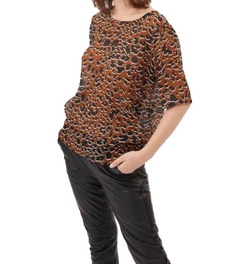 minimum Shirtbluse »minimum Elvire Blusen-Shirt modische Damen Rundhals-Bluse mit Animal-Print Freizeit-Bluse Braun«